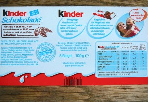 LIMV Kinderschokolade heller Zutaten